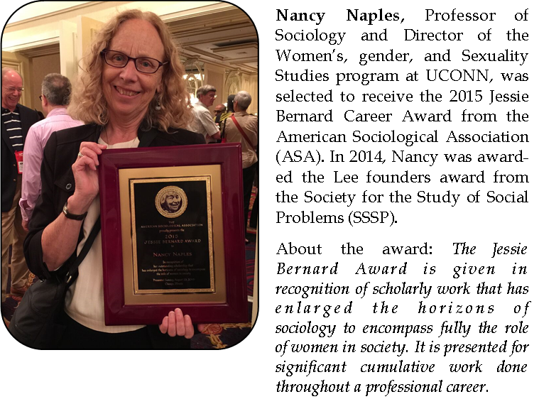 Nancy Naples receives the 2015 Jessie Bernard Award