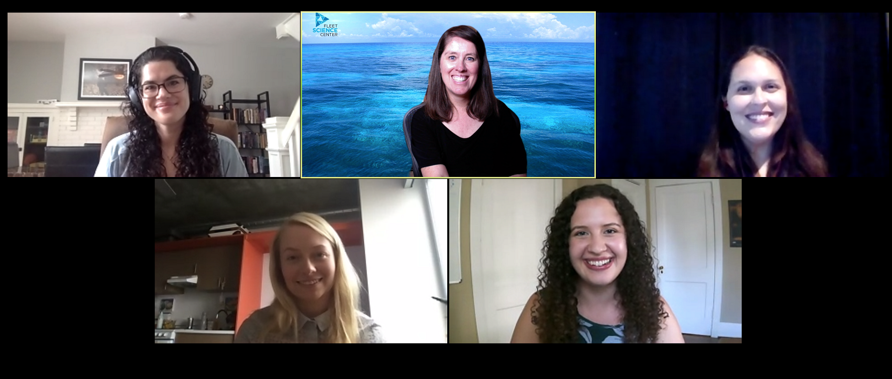 "Screenshot of the participants in the 2020 panel, ""Sinless, Fearless, Ruthless."" Top, left to right: Sarah Tarkoff, Andrea Decker, Amy Lawton Bottom, left to right: Samantha Russman, Nicole Henniger"