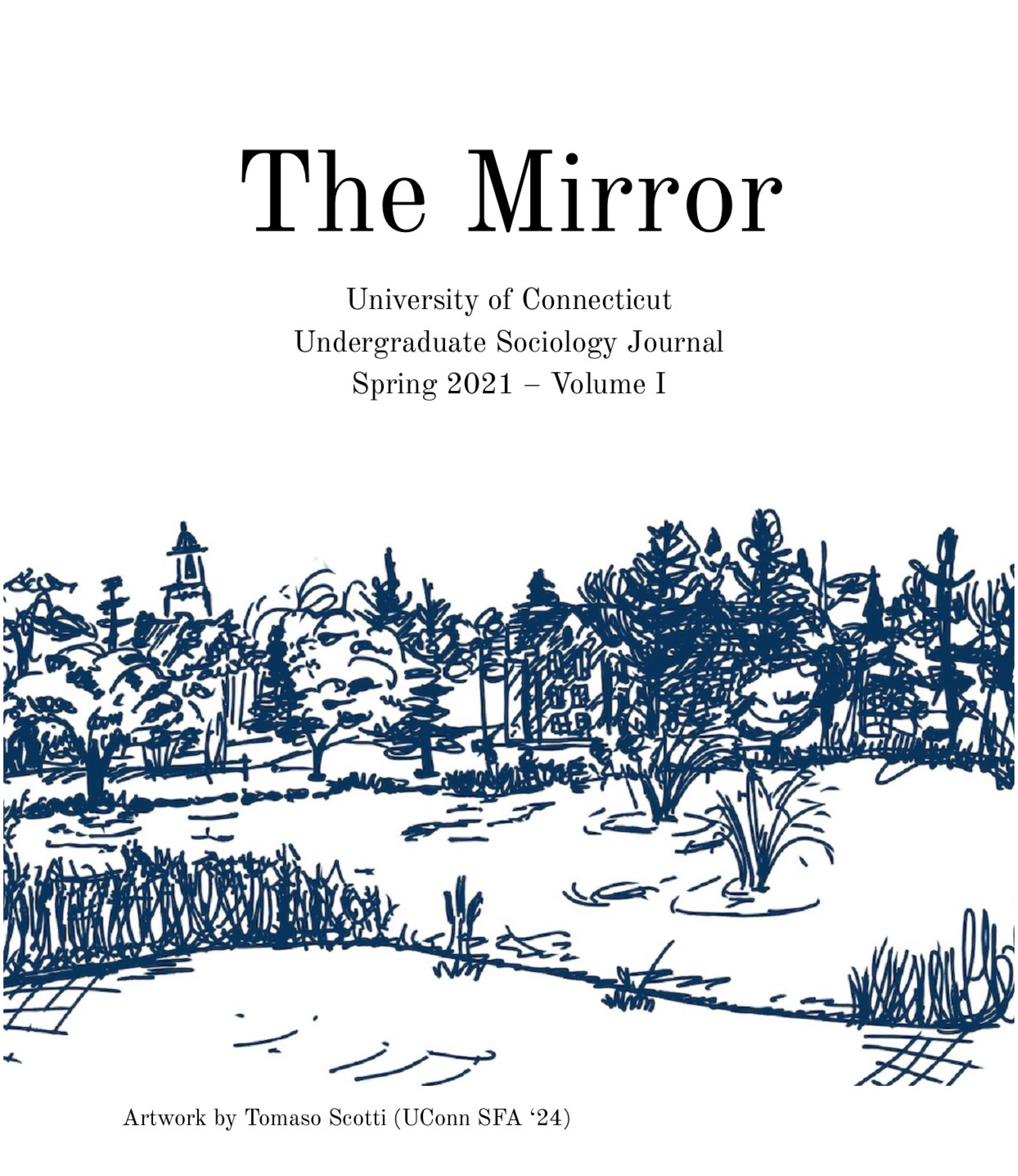 """Cover for the undergraduate Sociology journal, """"The Mirror."""""""